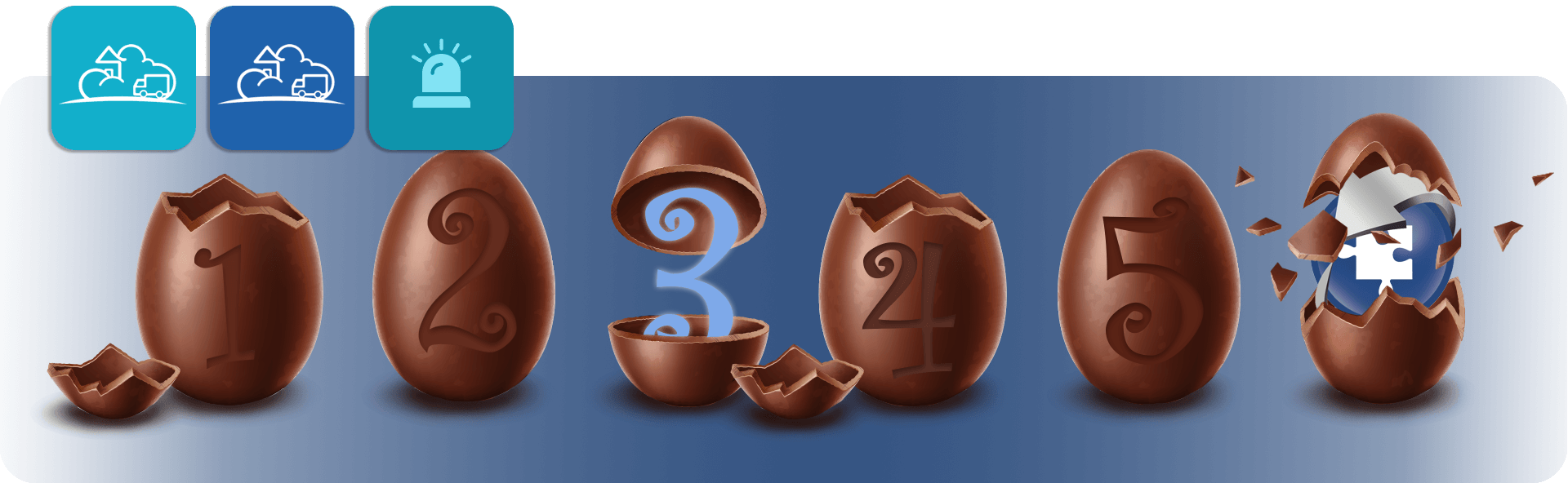 chocolate easter egg countdown from 1-5