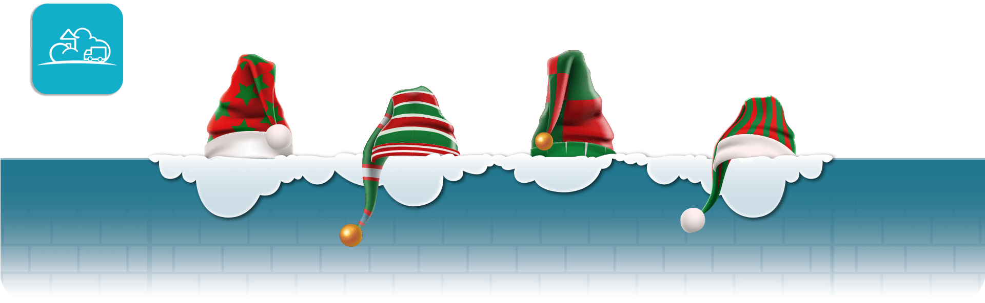 elf hats on a snowy wall