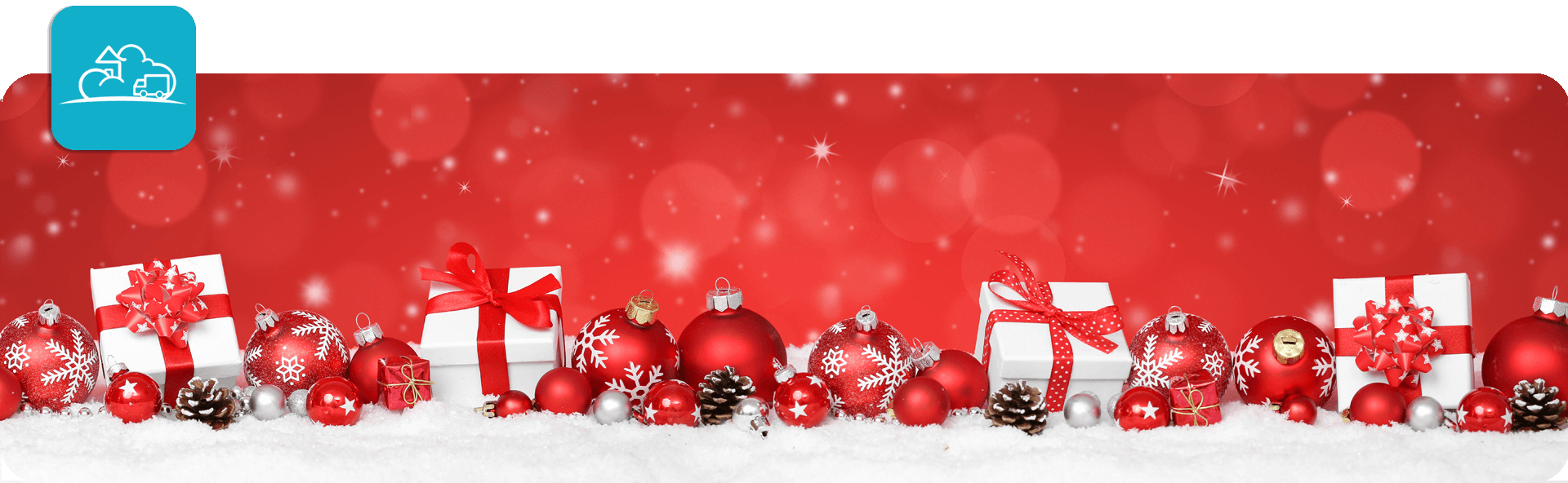 row of presents and baubles in white and red snowy christmas scene