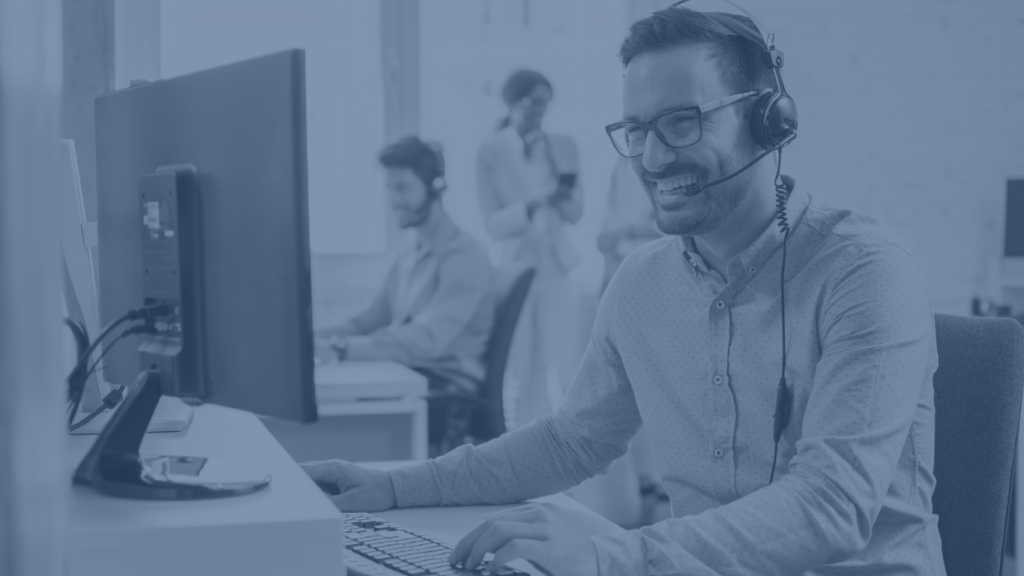 software support staff wearing headset