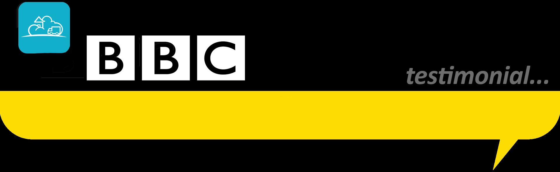 BBC logo in a speech bubble banner