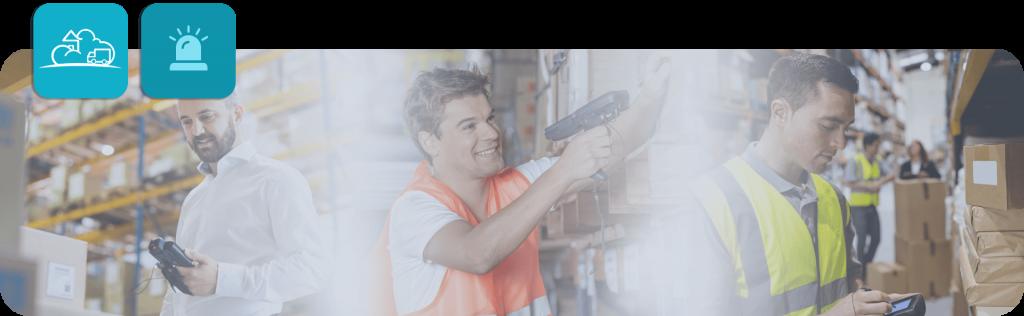 warehouse workers using handheld scanners
