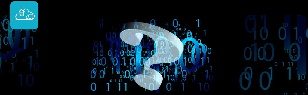question mark behind binary code