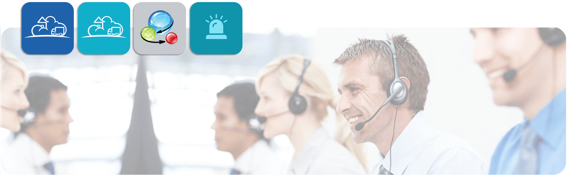 call centre staff wearing headsets