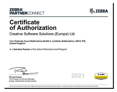 Thumbnail Zebra Solutions Partner Certificate